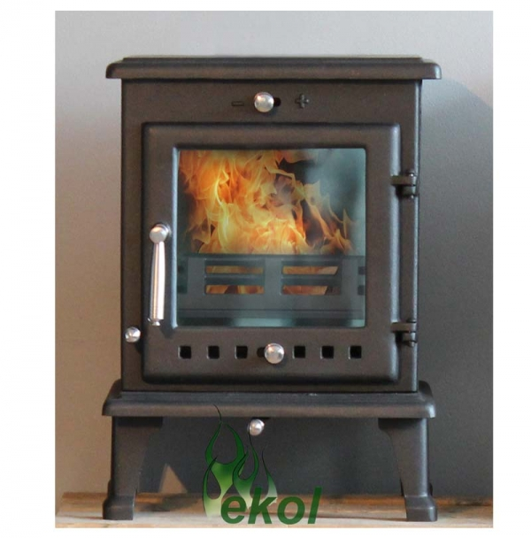 Ekol Crystal 5 woodburning stove multi fuel insitu