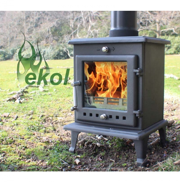 Ekol Crystal 5 woodburning stove multi fuel in the outdoors