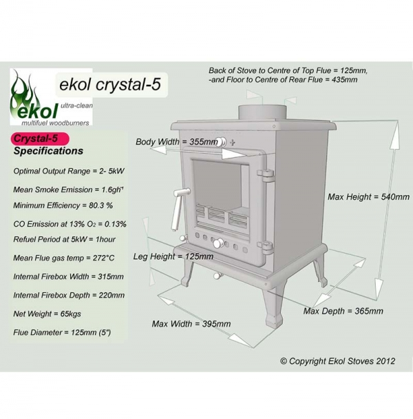 Ekol Crystal 5 woodburning stove multi fuel specifications