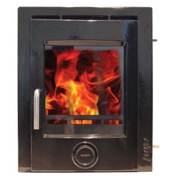 Ekol inset 5 gloss black enamel woodburning stove 5kw