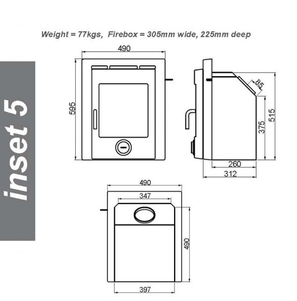 Ekol inset 5 woodburning stove dimensions