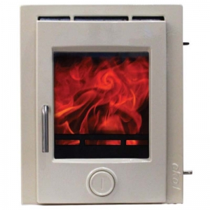 Ekol inset 5 light ivory enamel woodburning stove 5kw