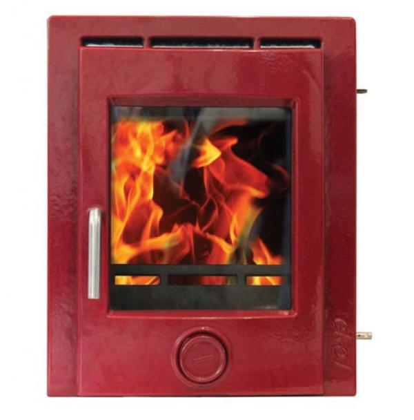 Ekol Inset 8 woodburning stove deep red enamel