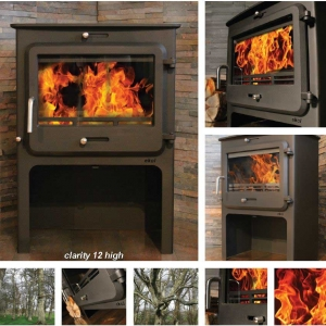 Ekol Clarity 12 woodburning stove high leg