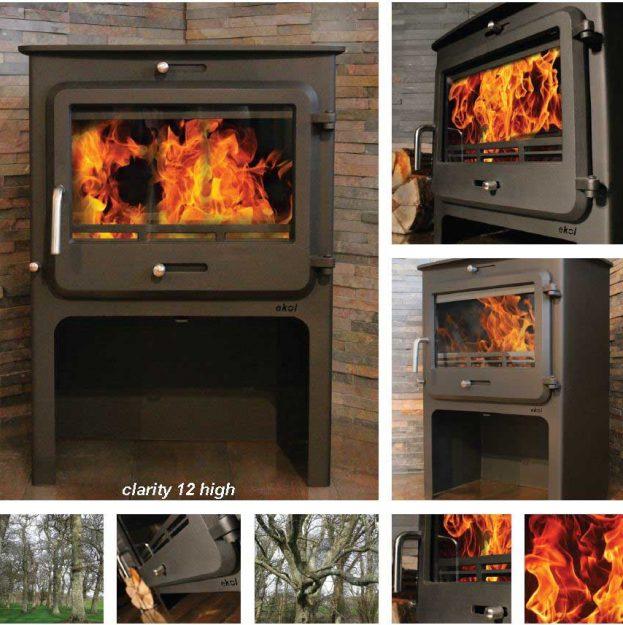 Ekol Clarity 12 woodburning stove high leg