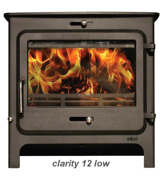 Ekol Clarity 12 woodburning stove low leg model
