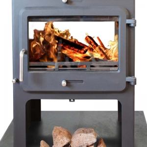 Ekol Clarity double sided woodburning stove high leg model