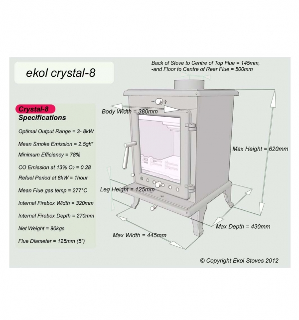 Ekol Crystal 8 woodburning multi fuel stove specifications