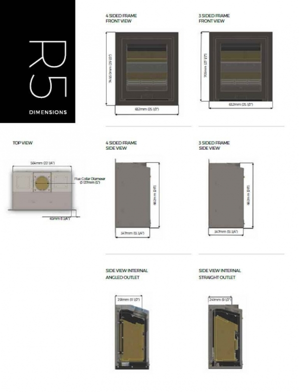 Di Lusso R5 Stove Wood burning stove specifications