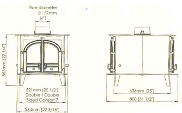 Parkray Consort 7 Double Sided Double Depth Stove 13