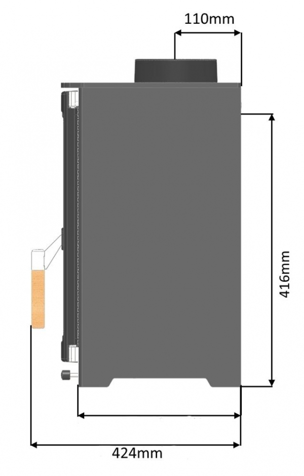parkray aspect 4 woodburning stove dimensions side view