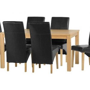 Belgravia Oak Dining Set, Table and 6 Black Dining Chairs