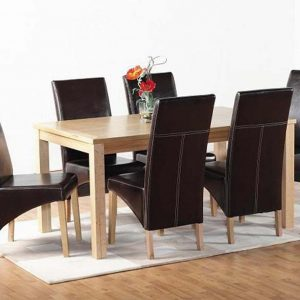 Belgravia Oak Dining Set, Table and 6 Brown Dining Chairs