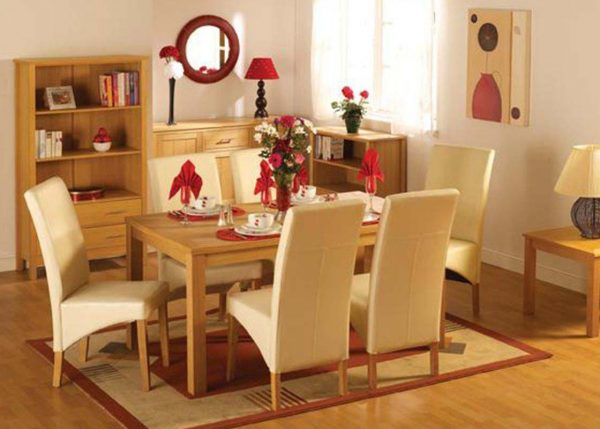 Belgravia Oak Dining Set, Table and 6 Cream Dining Chairs