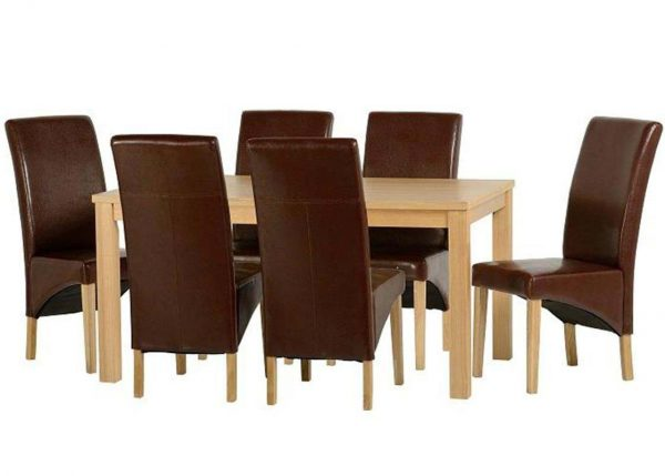 Belgravia Oak Dining Set, Table and 6 Mid Brown Dining Chairs