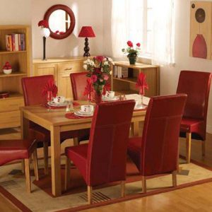 Belgravia Oak Dining Set, Table and 6 Red Dining Chairs