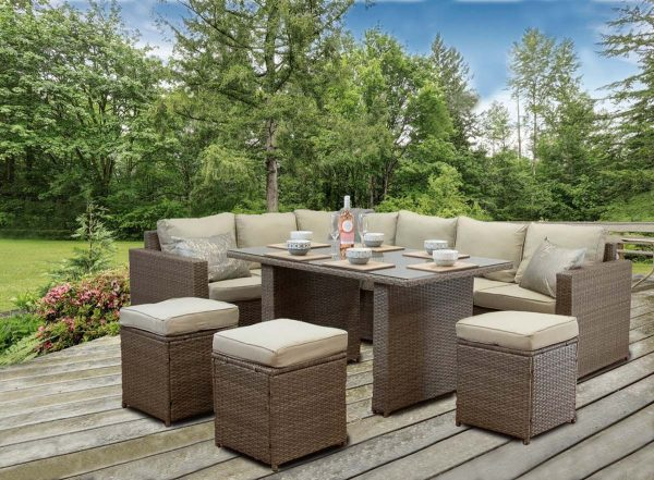 CasaGiardino Brown Rattan Corner Sofa Outdoor Garden Furniture Dining Table Set 1