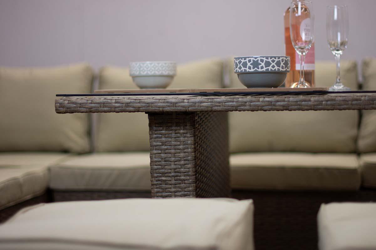 Picture of: Casagiardino Brown Rattan Corner Sofa Outdoor Garden Furniture Dining Table Set Lodge Furniture Uk