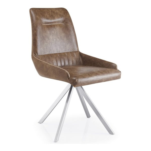 GILA Spider Leg Leather Match Warm Earth Dining Chair angle