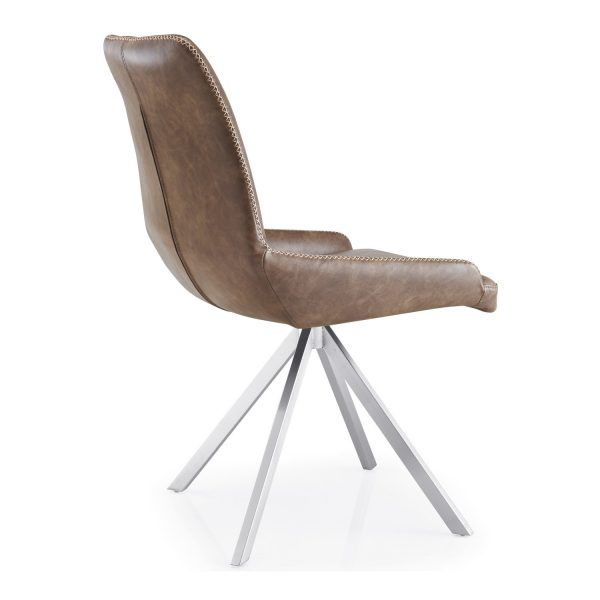 GILA Spider Leg Leather Match Warm Earth Dining Chair back angle