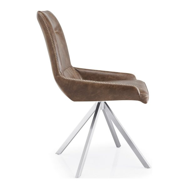 GILA Spider Leg Leather Match Warm Earth Dining Chair side