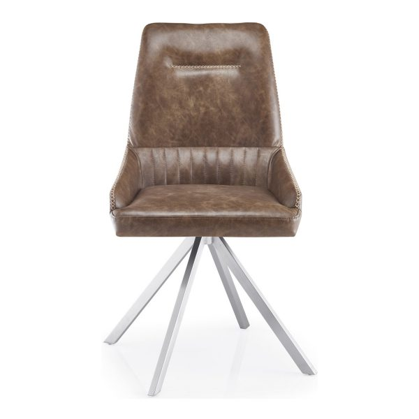 GILA Spider Leg Leather Match Warm Earth Dining Chair 1