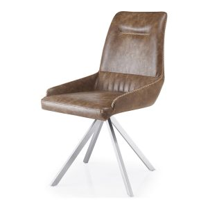 GILA Spider Leg Leather Match Warm Earth Dining Chair