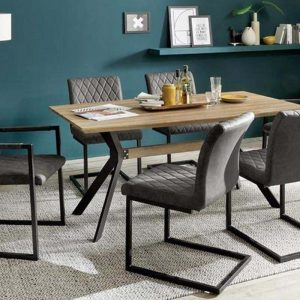 ModaNuvo Industrial 6 Seater Dining Set Metal Oak Table & Grey Vintage Leather Dining Chairs