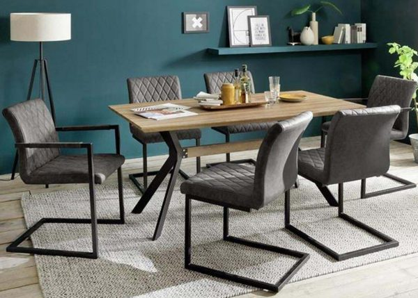 ModaNuvo Industrial 6 Seater Dining Set Metal Oak Table & Taupe Vintage Leather Dining Chairs