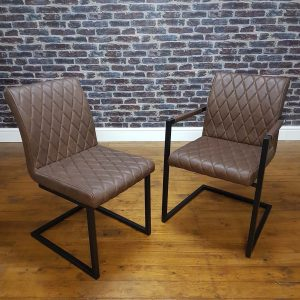 ModaNuvo Vintage Brown Leather Metal Cantilever Industrial Dining Chair1