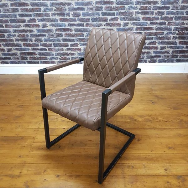 ModaNuvo Vintage Brown Leather Metal Cantilever Industrial Dining Chair2