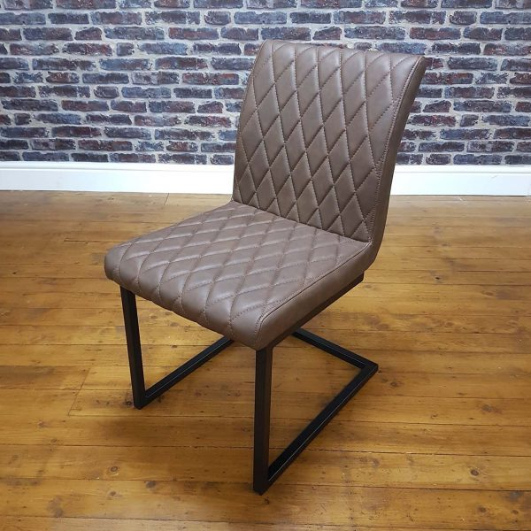 ModaNuvo Vintage Brown Leather Metal Cantilever Industrial Dining Chair3