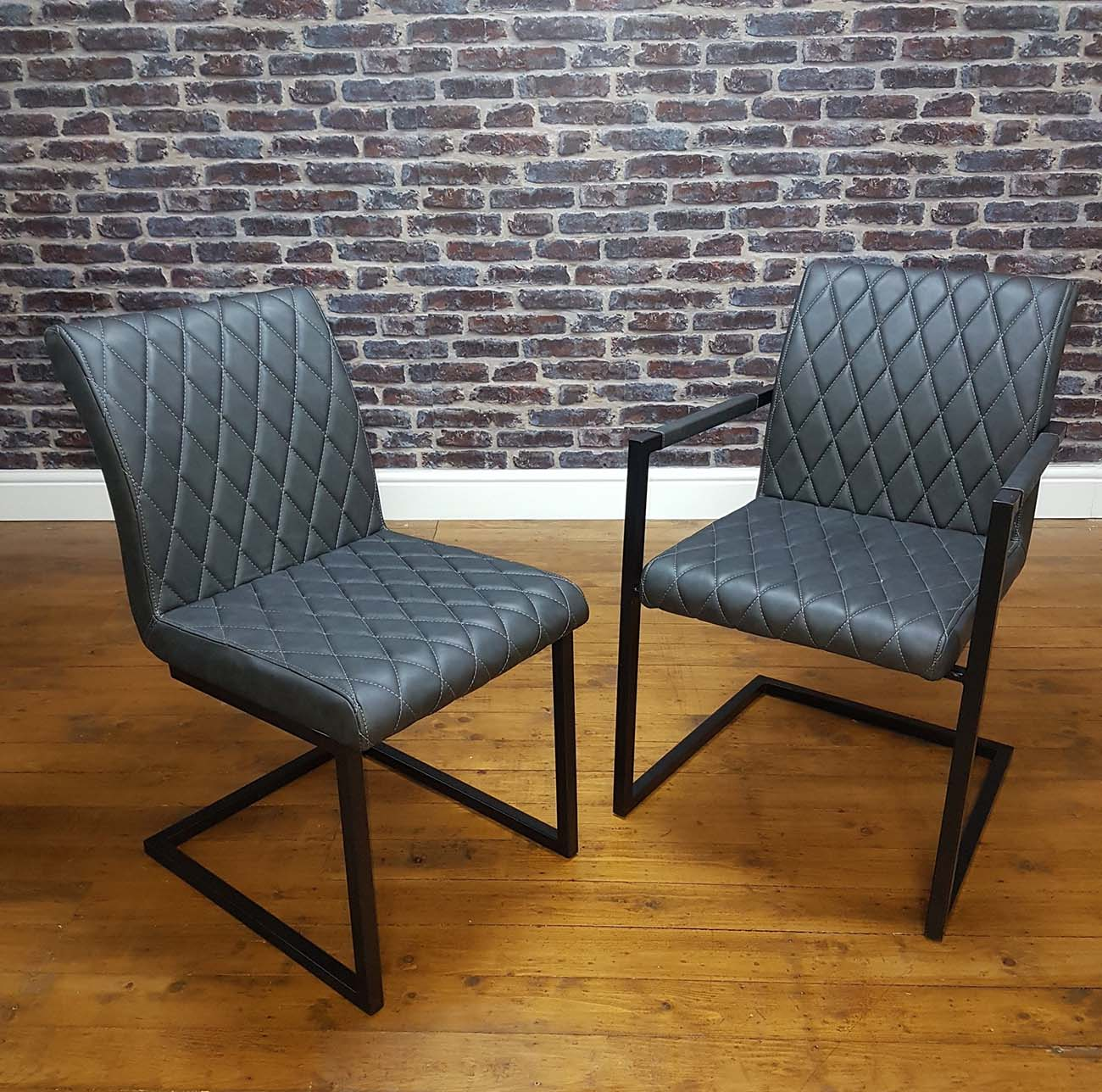 Modanuvo Vintage Grey Leather Metal Cantilever Industrial Dining Chair