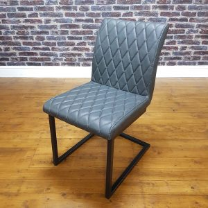 ModaNuvo Vintage Grey Leather Metal Cantilever Industrial Dining Chair2