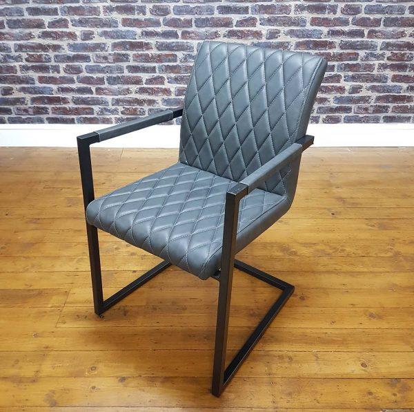 ModaNuvo Vintage Grey Leather Metal Cantilever Industrial Dining Chair3