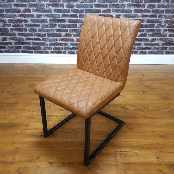 ModaNuvo Vintage Tan Leather Metal Cantilever Industrial Dining Chair 1