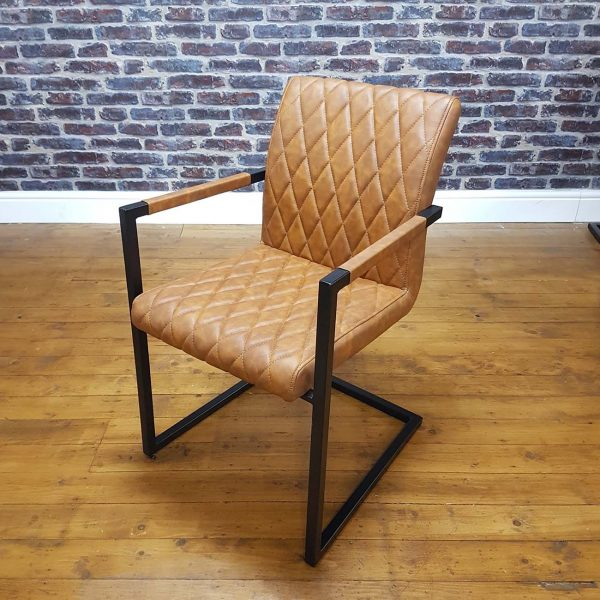 ModaNuvo Vintage Tan Leather Metal Cantilever Industrial Dining Chair 2