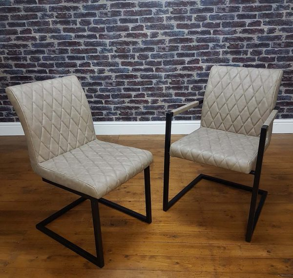 ModaNuvo Vintage Taupe Leather Metal Cantilever Industrial Dining Chair
