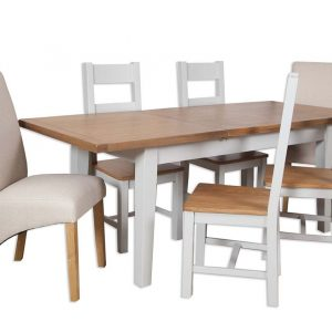 Oakwood Living French Grey Painted Oak 1.2 Extending Dining Table 120-160