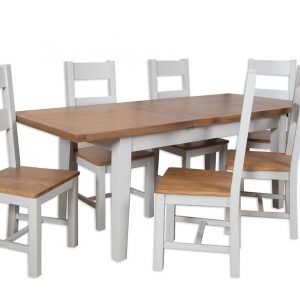 Oakwood Living Grey Painted Oak 1.6 Extending Dining Table 160-210