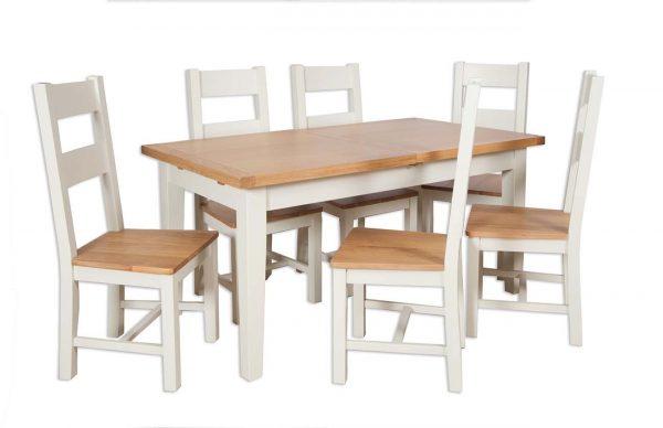 Oakwood Living Ivory Painted Oak 1.2 Extending Dining Table 120/160cm 1