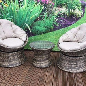 Premium Rattan 2-Seater Twister Swivel Brown