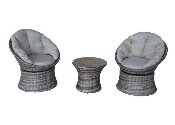 Premium Rattan 2-Seater Twister Swivel Grey