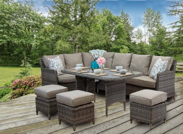 Rattan Outdoor Patio Garden Corner Sofa DiningTable Chairs Set natural