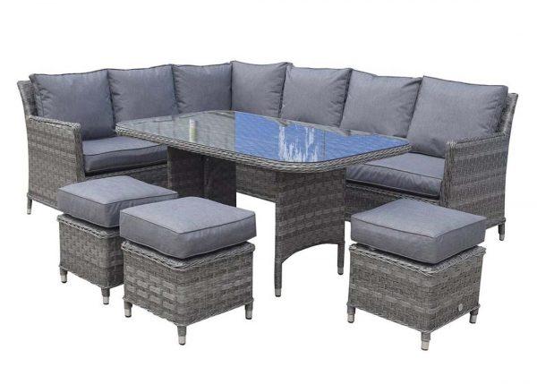 Rattan Outdoor Patio Garden Corner Sofa Dining Table Set Chairs Set 6