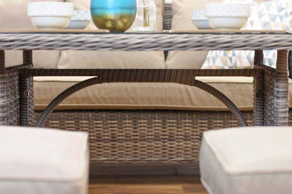 Rattan Outdoor Patio Garden Corner Sofa Dining Table Set Chairs Set 5