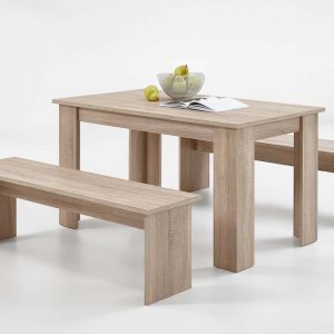 SlumberHaus Dorma Dining Table and 2 Bench Set in Light Oak