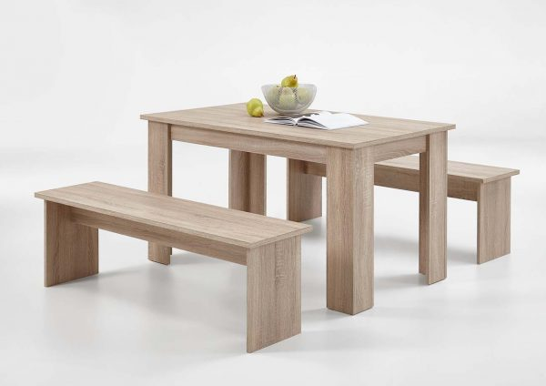 SlumberHaus Dorma Dining Table and 2 Bench Set in Light Oak