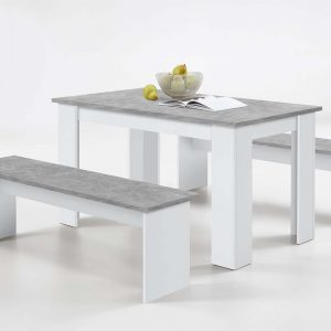 SlumberHaus Dorma Dining Table and 2 Bench Set in White and Concrete