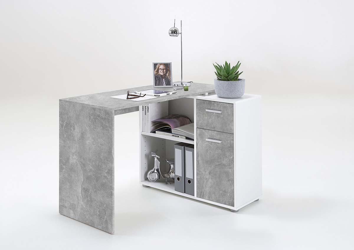 Slumberhaus Lixor Midi Home Office Computer Desk Workstation In White Concrete Stone Lodge Furniture Uk